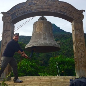 Tyler Lewke ringing the bell at the base temple of Adams Peak, after our decent! Sri Lanka December 2015