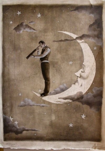 man standing on moon with telescope