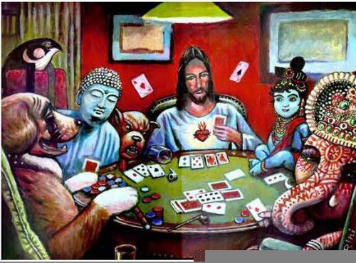 Buddha, Jesus Ganesha playing poker