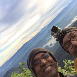 Bhante Sujatha and Tyler Lewke on the way down from the top of Adams Peak, Sri Lanka December 2015