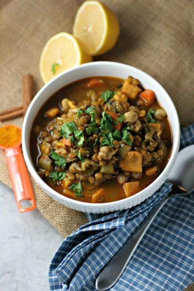 Exotic Moroccan Lentil Stew {Vegan, Gluten Free Recipe}.