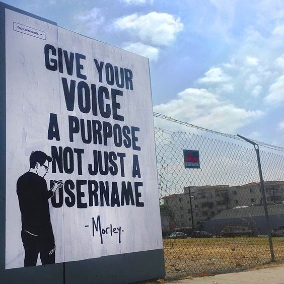 Give Your Voice a Purpose Not Just a Username ~ Morley (Street Art)